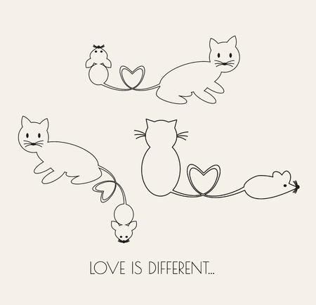 rata caricatura: Gato y rata aman para siempre. Línea de dibujos animados ilustración vectorial arte. Amigo para siempre. Vectores