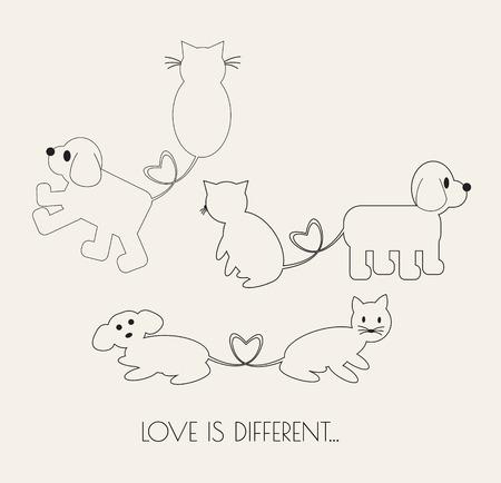 illustration line art: Dog & Cat  love forever. Illustration line art cartoon vector. Friend forever.