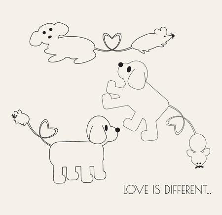 rata caricatura: Dog & Amor de la rata. Línea de dibujos animados ilustración vectorial arte.