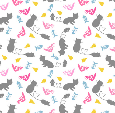 rata: El gato y el patr�n de dibujos animados lindo de la rata del vector. Ilustraci�n gato y rata. Patr�n transparente de dibujos animados lindo para ni�o. Amor del gato y la rata papel tapiz de fondo.