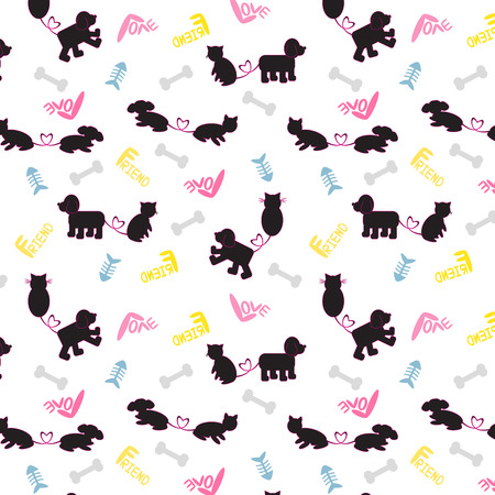 catoon: Dog&Cat cute catoon pattern vector. Illustration Dog&Cat colorful wallpaper. Seamless pattern silhouette Dog&Cat