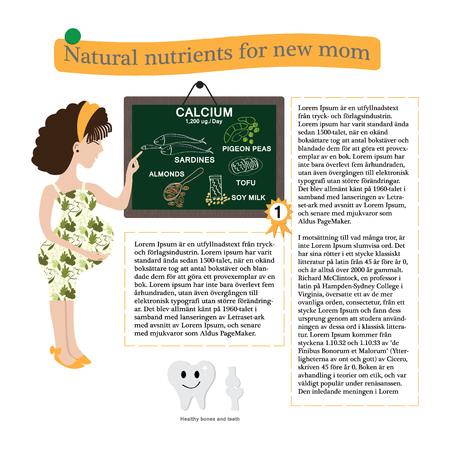 Pregnancy vector design. Healthy information calcium natural nutrients for pregnant  include pattern in swatches menu.  Vector illustration knowledge for new mom.