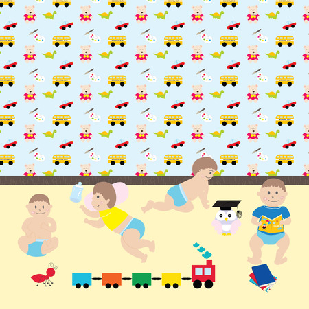baby boys: Happy baby boys.  Cute cartoon  little kids and toys in nursery room include pattern in swatches menu. Vector illustration movements of baby.
