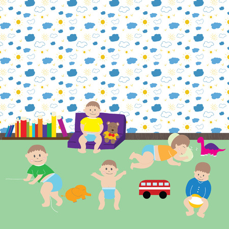 nursery room: Happy baby boys.  Cute cartoon  little kids and toys in nursery room include pattern in swatches menu. Vector illustration movements of baby.