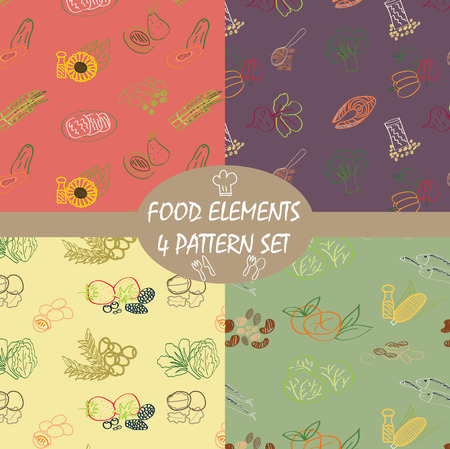 Pattern colorful food elements for healthy. Illustration