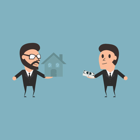 buyer: Marketing conceptual seller and buyer flat desing illustration.