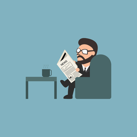 Businessman lisant un journal. Illustration plat.