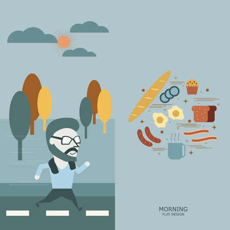 special moments: Morning conceptual.  Special moment jogging and Breakfast.  Flat illustration. Illustration