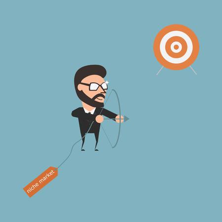 arrow target: Specific target. Marketing strategy. Flat illustration cartoon business conceptual. Illustration
