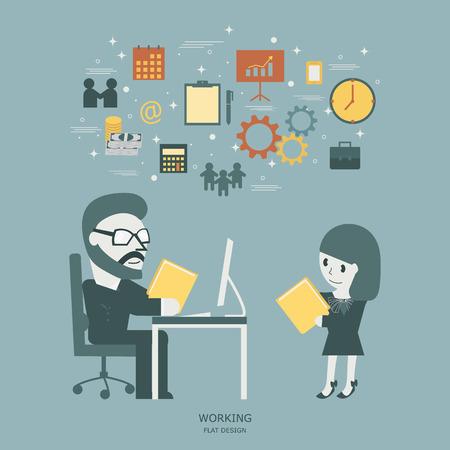 summary: Working. Secretary doing summary report to boss. Flat illustration.