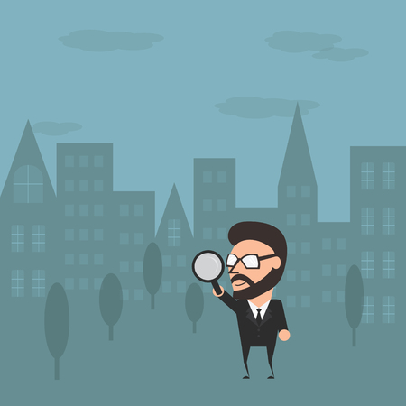 maketing: Businessman go to outdoor for maketing research. Conceptual marketing illustration flat design.