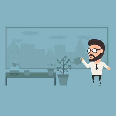 delight: Delight in office. Relaxation concept on work day. Flat illustration.