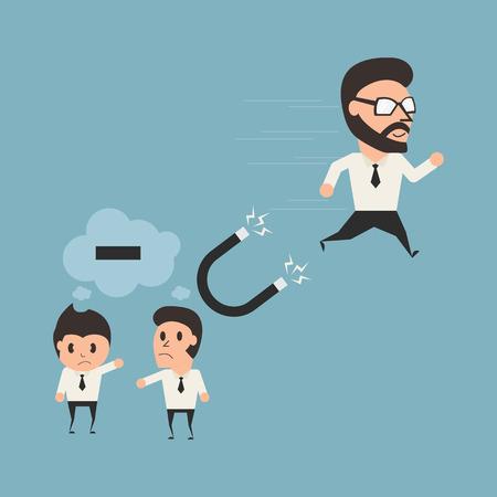 run away: Psychology concept. Businessman run away from nagative thinking. Flat Illustration. Illustration