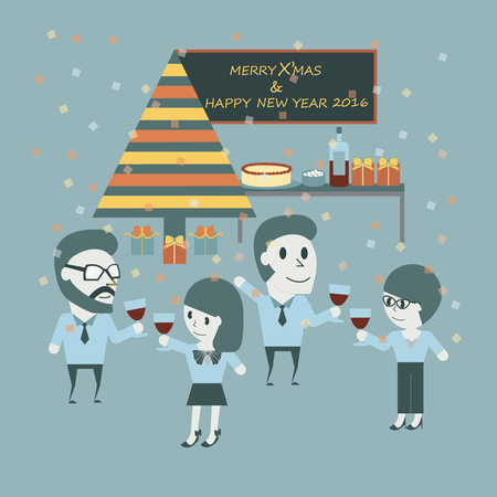important people: Working people celebrate Christmas. Happy concept with important holiday. Flat illustration. Illustration