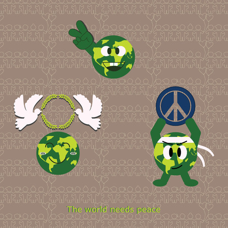 world peace: Cartoon icon world peace included pattern in swatches menu. Flat illustration design. Illustration