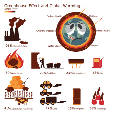 greenhouse: Greenhouse Effect and Global warming infographic elements. Illustration flat design.