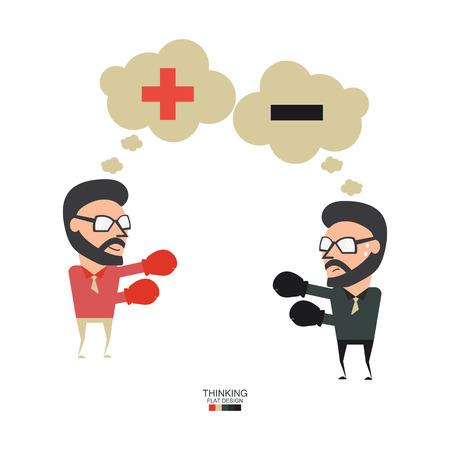 sicologia: enemigo grande. Luchando por pensar diferente en sí mismo. concepto de negocio ilustración diseño plano.
