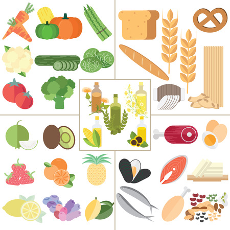 Il 5 cibo gruppo cibo nutrizione sana infografica.