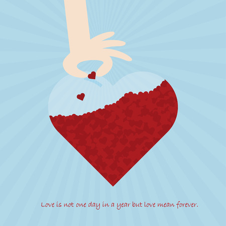 Greeting cards for special occasion Valentines day. Fill your love in everyday. Love concept flat illustration design.