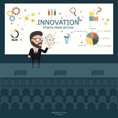 talk show: Businessman presenting  on the stage. Business concept. Flat illustration.