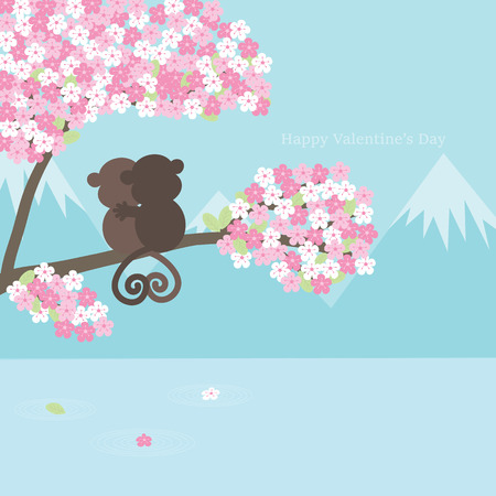 Valentines Day background with couple monkey on sakura blossom. Illustration cartoon greeting card.