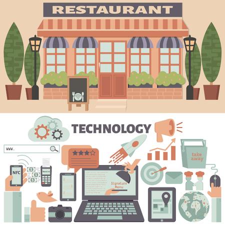 Restaurante y Tecnología elementos infográficos. Restaurante estrategia de marketing. Ilustración de vector