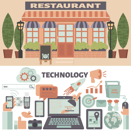 Restaurant & Technology infographic elements. Restaurant Marketing Strategy.