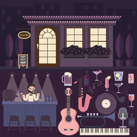 lounge bar: Lounge Bar, Jazz music & Cocktail infographic elements. Illustration
