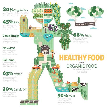 Une alimentation saine avec infographique des aliments biologiques. Aliments tendance soins de santé Concept illustrationl