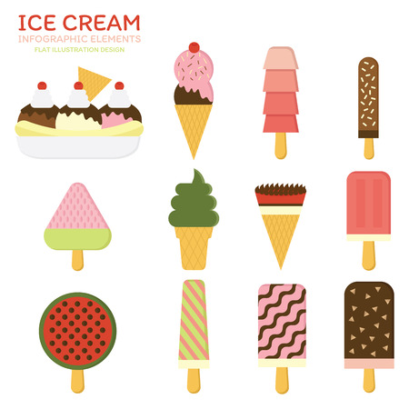 mixed nuts: Mix Ice cream vector set. Illustration flat design.