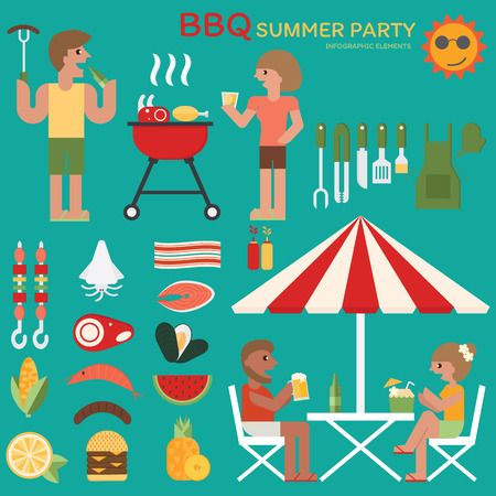 fiesta familiar: fiesta del verano barbacoa infografía diseño plano.