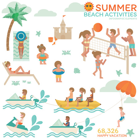 Summer beach activities, Happy vacation with family, friends, Relaxing on holiday with volleyball, sunbath and beautiful tanned skin, jet ski, banana boat and parachute. Infographic flat vector.