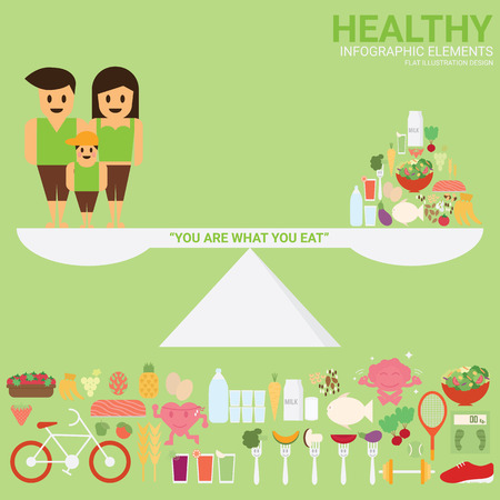 healthy family: Healthy Family. Healthy food. Healthy sport and activity. Healthy concept with infographic elements flat illustration design. Illustration