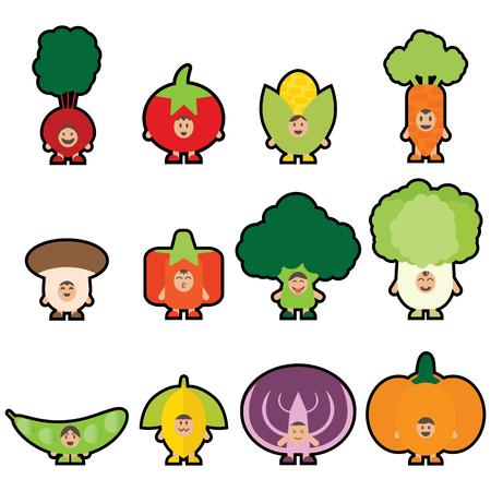 veggies: 12 Veggies mascot Set1. I love veggies concept for kids. Eating 5 color vegetables everyday. Happy funny vegetables. Flat illustration design.