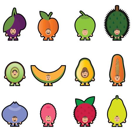 tropical fruit: 12 Fruits mascot Set2. I love fruits concept for kids. Happy funny fruits. Flat illustration design.