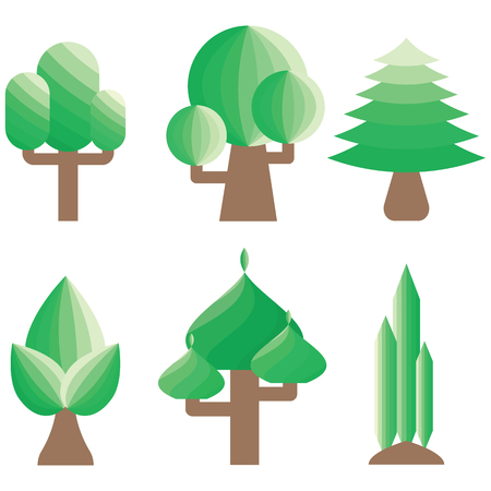 home gardening: Tree geometric icon set 2  isolated on white background. Design decoration for home, office, gardening, game, exterior, architect and landscape. Tree dimention vector illustration design.
