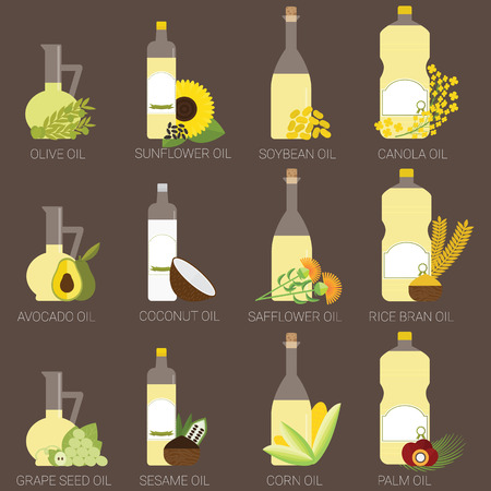 12 cooking oils in bottle. Healthy oil from canola, coconut, sesame, soybean, sunflower, safflower, palm, olive, grape seed, rice bran and avocado. Иллюстрация