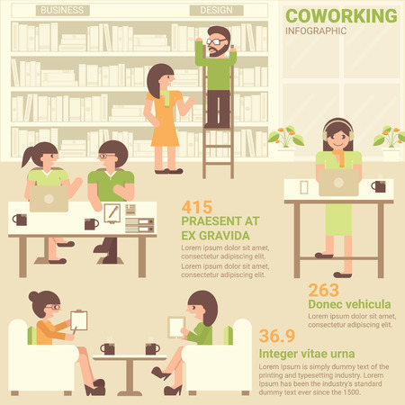 urban area: Coworking infographic flat design. Co-working space for worker. Library for work.  Coworking area for worker, creative people, freelance, learning area. New trend lifestyle for work in urban.