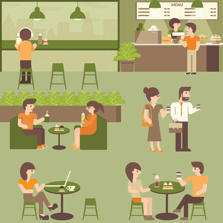 cafeteria: Cafe coffee shop. Urban social concept infographic element. Vector flat icons cartoon design. Indoor coffee shop. Lifestyle people in cafe. Businessman, Man, Woman, Couple, Friends in cafeteria. Illustration