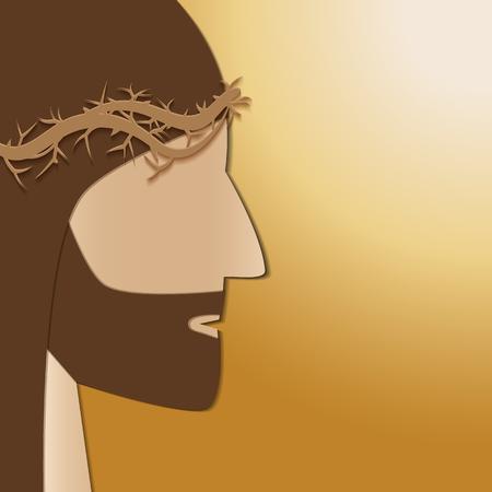 lent: Jesus Christ.  Jesus of Nazareth. Passover. Vector illustration design paper cut style.