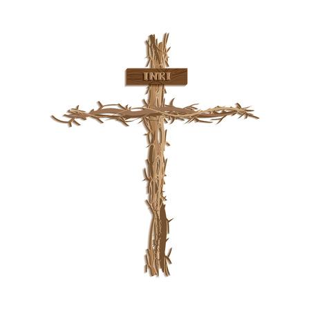 Jesus cross. Cross of thorn. Symbol of christ. Vector illustration design paper cut style.