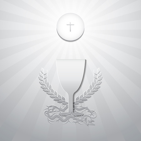 Eucharist symbols. Bread, Chalice with Crown of thorns and 3 nails. First Holy Communion on Thursday in Lent Concept. Symbols of Christianity Catholic and Christian. Design paper cut style. Vector illustration.