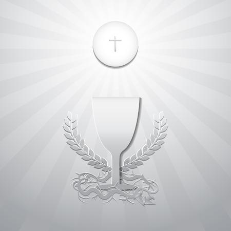 Eucharistie symbolen. Brood, Kelk met Kroon van doornen en 3 nagels. Eerste Heilige Communie op donderdag in Lent Concept. Symbolen van het christendom katholieke en christelijke. Ontwerp papier gesneden stijl. Vector illustratie.