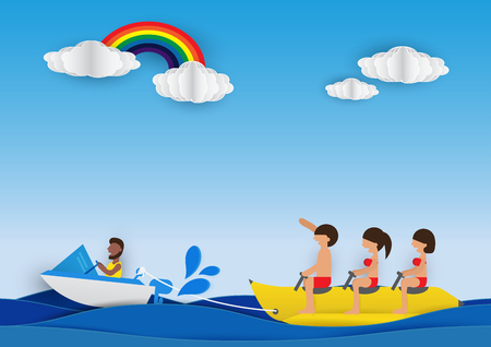 Summer activity. Cartoon people are riding on a banana boat in blue sea background. Design paper cut style. Vector illustration.