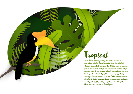 hornbill: Tropical green leaves with hornbill isolated on white background and space for your text. Natural concept. Vector illustration.