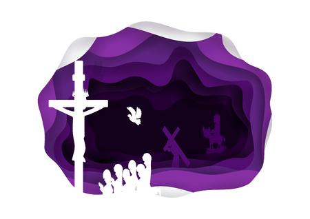 貸されます。イエス ・ キリストは十字キリストのシンボルです。グッドフラ イデー。過越の祭り。宗教キリスト。ベクトルの図。  イラスト・ベクター素材