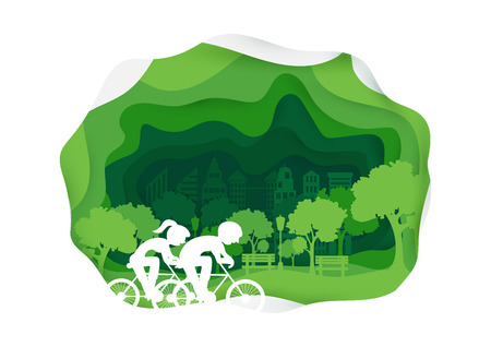 Healthy urban lifestyle in city park.  Healthy concept. Riding Bicycles.  Paper art style. Horizontal vector illustration.