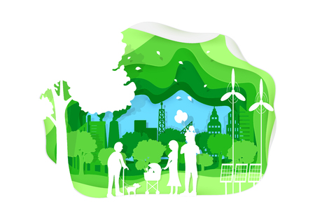 Ecological concept. Green environment with big family on city background. Horizontal vector background.