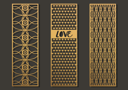 Die cut geometric pattern rectangle shape for metal , wooden, paper, engraving, stencil.