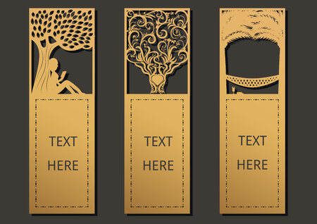 Die and laser cut with Trees set of ornate cards. Template frame for greeting card ,wedding, invitation, bookmark and label with space for your text. Vector illustration design. Ilustração